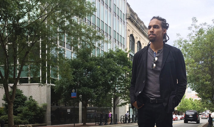 "Pierce Freelon stands outside Blackspace's Durham studio. Freelon hopes to give back to his city as mayor. ""I was, you know, born and raised here and this is the city that made me who I am."" (Andy Li/NextGenRadio)"